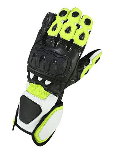 Motorrad Leder Handschuhe GP Circuit Neon Grün, Gelb (L) -