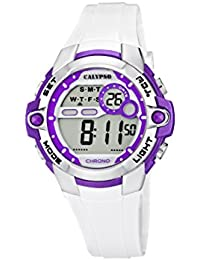 Calypso watches - K5617/3 - Montre Fille - Quartz Digital - Alarme/Chronomètre/Eclairage - Bracelet Plastique Blanc