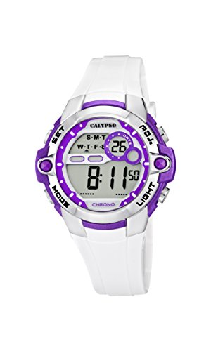 Calypso watches Calypso watches – Reloj digital de cuarzo para niña con correa de plástico, color blanco