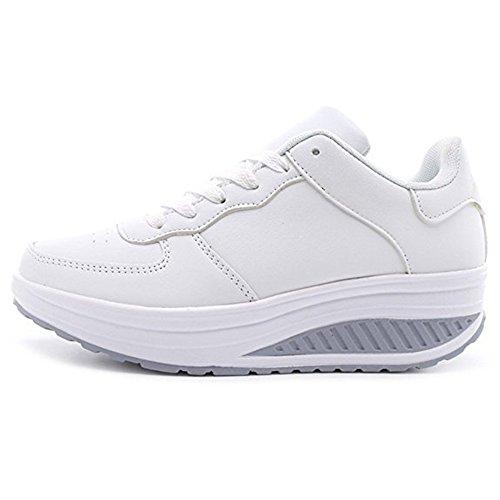 Sneakers Donna Scarpe Fitness Dimagranti Outdoor Sportive Anti Scivolo (Bianco/Etichetta 39)