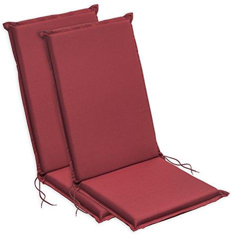 Sleepling 193927 Conjunto de 2 Cojines para sillas de jardín de Respaldo Alto, 120 x 50 x 6 cm, Rojo...