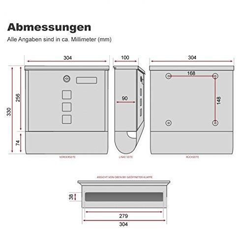 TÄGA 2217 Design Briefkasten anthrazit mit Zeitungsfach, Namensschild, Sichtfenster, Edelstahl pulverbeschichtet, abschließbar, 2 Schlüssel, Farbe: matt, anthrazit, grau - 3