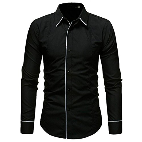 Navy Langarm Denim-shirt (YunYoud Männer Shirt Fashion Einfarbig Männlichen Casual Langarm-shirt kurzärmelige hemden herren männerhemd kurzarm langarm extra kurz herrenhemden günstig online hemd)