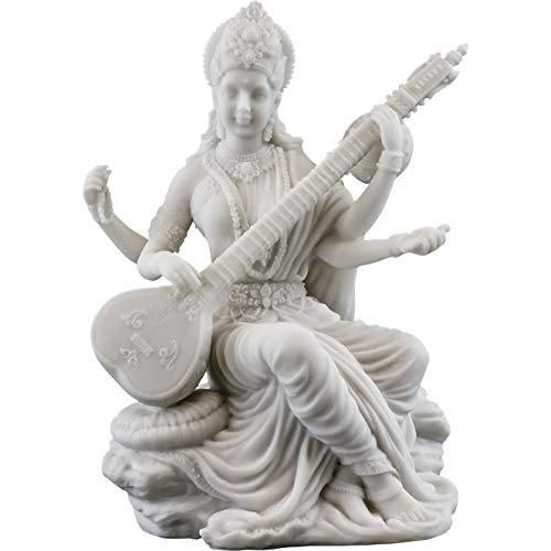 Top Collection Saraswati-Statue mit weißem Marmor-Finish, Hindu Göttin des Wissen, Musik und Kunstskulptur, 14,7 cm -