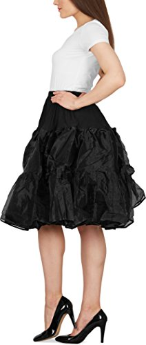 Black Butterfly 25″ Rockabilly Petticoat 1950er-Jahre Komplett aus Satin-Organza Tellerrock (Schwarz, EUR 36 – 42) - 2