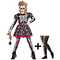 A2ZFD Skull of the Dead Skeleton Girls Halloween Fancy Dress Costume + Skeleton Tights