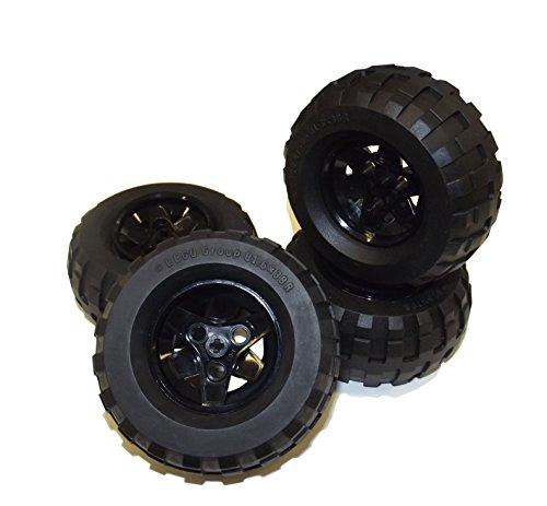 """4 Stück LEGO TECHNIC \""""Reifen 81.6 x 38R auf schwarzer Felge\""""."""