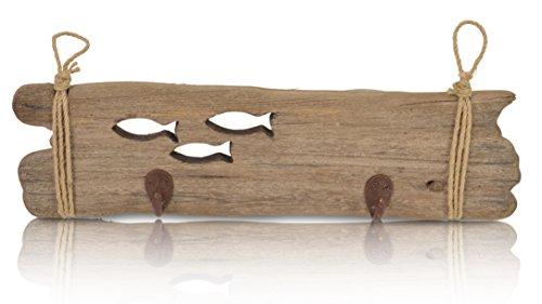 CHICCIE Maritime Wandgarderobe - aus Holz - mit 2 Kleiderhaken - Länge 42,5cm - Kleiderständer