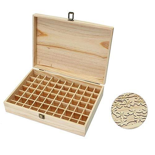 windyday 70 Gitter Aufbewahrungsbox aus Holz Holzkiste mit Deckel Holzkoffer für Ätherisches Öl Tasche Box Organisator Aufbewahrungsbox für 5 ml/10 ml/15 ml-Flaschen