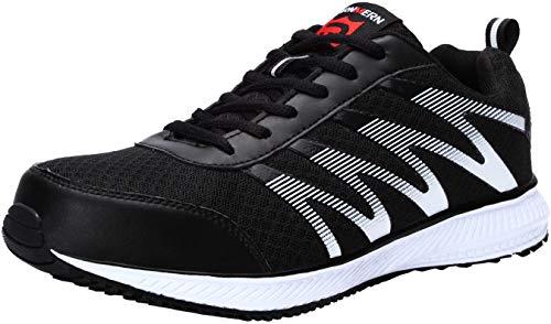 LARNMERN Stahlkappe Sicherheitsschuhe, Herren luftdurchlässige Leichte Anti-Smashing Schuhe Industrie und Handwerk (42 EU, Schwarz)