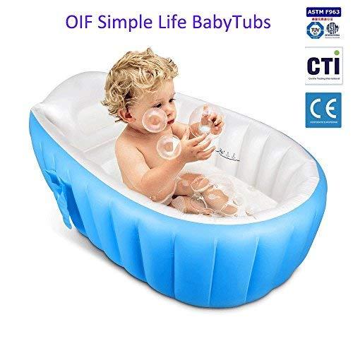 Bañera hinchable para bebé, OIF, portátil, para niños, bebés, grueso, suave, cojín...