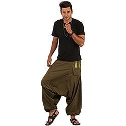 THS–boho hippie amplia pierna algodón Baggy Harem Pantalones Pantalones Bolsillos–Caída Estilo verde caqui Talla única