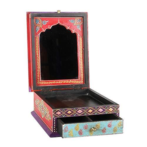 Marrakesch RK103 Sita - Joyero oriental madera, 27 x 21,5 x 11 cm, con espejo y cajón, hecho a mano...