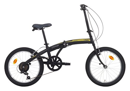 Cicli Cinzia Citybike City Fold 6/V Revo Shift V-Brake, Bicicletta Unisex – Adulto, Nero Op./Verde, 20