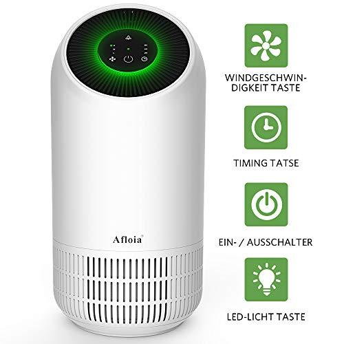 Afloia Luftreiniger Air Purifier mit HEPA-Kombifilter und Aktivkohlefilter 4-Stufen-Filterung für 99,9{454b71eca83ffd605268008dafc3f357c5708a25e11bfe33c300758cd1cc1256} Timing LED Nachtlicht, Luftreinigungsgerät perfekt für Allergiker und Raucher