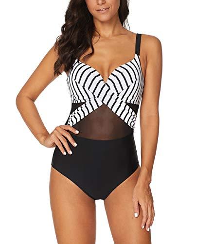 Achruor Badeanzug Damen Bauchweg V-Ausschnitt Sexy Einteiler Schwimmanzug Strandmode Bikini Push Up Bademode mit Shorts Schlankheits, Schwarz Streifen, 2XL (EU 44-46)