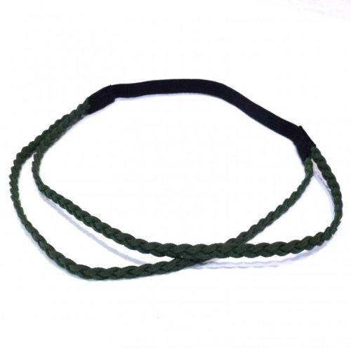 rougecaramel -Headband/bandeau tressé double rangs façon daim - vert