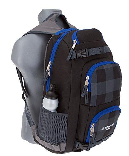 4 Teile SET: ELEPHANT HERO 2 Rucksack GEAR + Sporttasche + Mäppchen Zipper + Regenschutz 12365 (Plaid Black) - 2