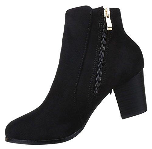 Damen Stiefeletten Schuhe Western Style Boots Schwarz Beige 35 36 37 38 39  40 41 Schwarz