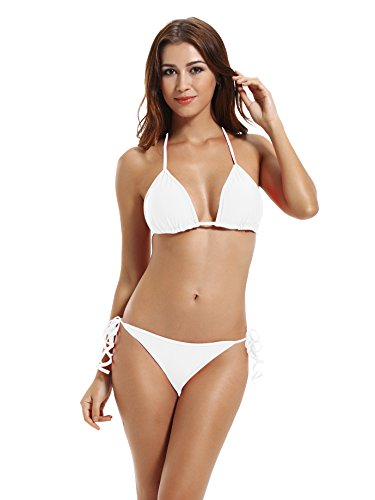Zeraca Damen Tie Side Bikinihose Triangel Bikini Bademode Weiß