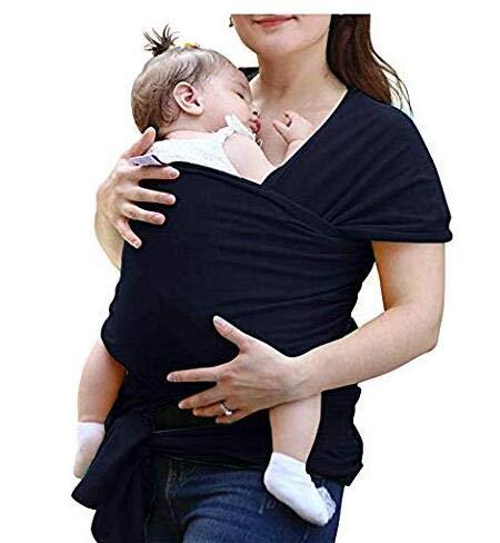 Tragetuch Baby elastisch für Neugeborene und Kleinkinder, Babytragetuch Kindertragetuch Baby Bauchtrage Sling Tragetuch für Baby Neugeborene Innerhalb 16 KG von VOARGE (Schwarz) -