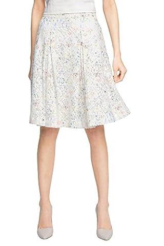 ESPRIT Collection Damen Rock 056EO1D005-aus Baumwolle, Mehrfarbig (Off White 2 111), 38