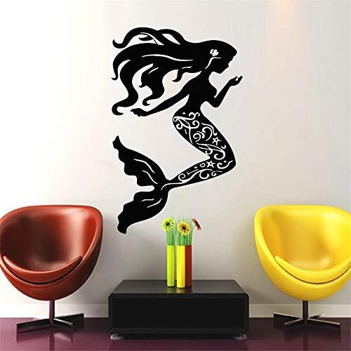 yiyiyaya Nautische Muscheln Serie Wandaufkleber Wohnkultur Wohnzimmer Hübsche Meerjungfrau Mit Langen Haaren Kunst Silhouette Wandtattoo 56x89 cm