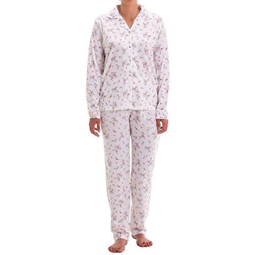 Zeitlos Damen Pyjama mit Blumen Druck und Knopfleiste (M, Weiß)