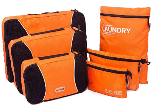 Packing Cubes, NEXTOUR Packing Organisers Bag 3 pcs PLUS Laundry Bag Toiletry Bag and Electronics Accessories Pouch 6 set Travel Organisers for Luggage (Orange)