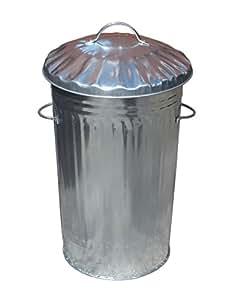 46L Litre Galvanised Metal Bin Slim Retro Ideal for Kitchen Rubbish / Waste / Dustbin / Storage by S&MC Homeware