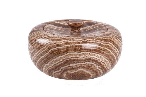 Yuchengstone Boîte Bonbon Bonbonnière boîte à Bijoux en Onyx Pierre Naturelle Ranger, Massif 25 x 25 x 12 cm, 4 Kg