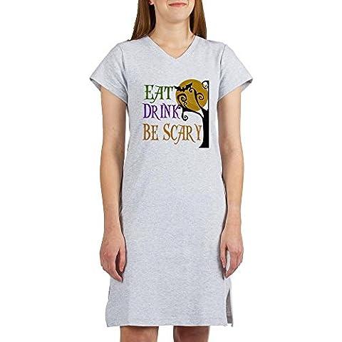 CafePress - Halloween Eat Drink Be Scary Women's Nightshirt - Women's Nightshirt, Soft Long Pajama Shirt, Cotton PJs /