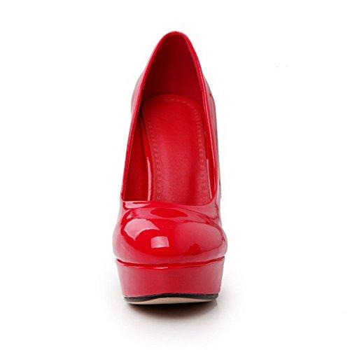 VogueZone009 Femme Fermeture D'Orteil Rond à Talon Haut Verni Couleur Unie Tire Chaussures Légeres Rouge