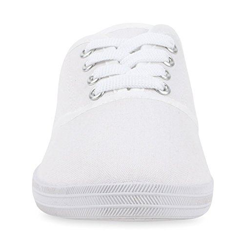 Herren Damen Unisex Sneakers Low Freizeit Turnschuhe Schuhe Bequem Weiß