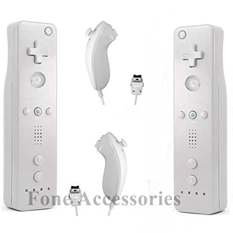 MOTION PLUS BUILT IN x2 Nunchuck x2 Remote Controller For Nintendo Wii U WHITE