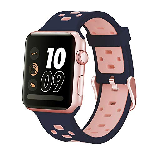 iBazal Compatible iWatch Series 4 Correa 40mm Silicona, Compatible iWatch Correa 38mm Silicona con Estuche TPU Compatible iWatch Series 4/Series 3/Series 2/Series 1 38mm 40mm - Azul/Rosa 38