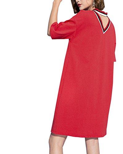ELLAZHU Damen Sommer Kurzarm Choker V-Ausschnitt Shirt Kleid GT04 Red