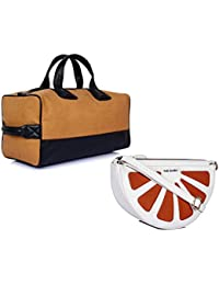 THE MAKER Combo Of Brown And Black Synthetic Leather Men Kilburn Duffle Bag With White And Orange Synthetic Leather...