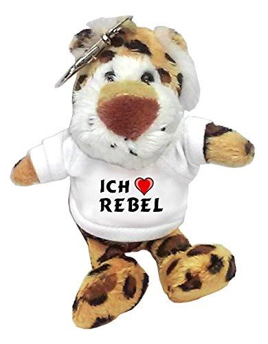 Plüsch Leopard Schlüsselhalter mit T-shirt mit Aufschrift Ich liebe Rebel (Vorname/Zuname/Spitzname) (Leopard Rebel)