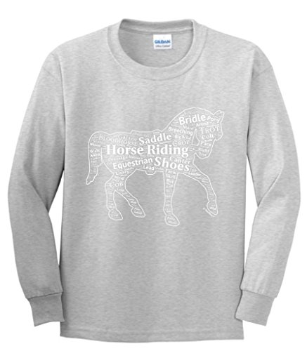 Horseback Word Collage Equestrian Horse Gift Youth Long Sleeve T-Shirt X-Large Sport Grey (Horse T-shirt Youth)