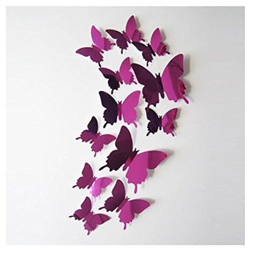 Stickers Muraux Papillon, Kangrunmy Autocollant Mural 3D ImperméAble Amovible Ne Se Fanent Pas éLéGance Art Decor Pour Enfants Adultes Garcon Fille Ado Chambre Cuisine Salon Cars (Rose chaud)