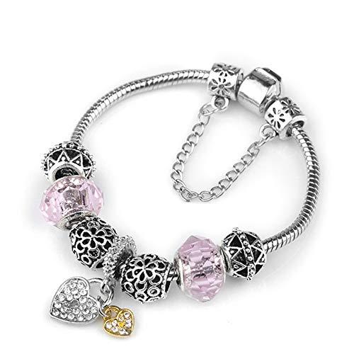 YOYOYAYA Tree of Life Charm Brand Bracelet Antique Silver Color Flower Beads Bracelets & Bangles Fashion Jewelry Gift,19Cm -