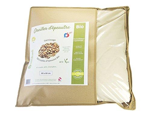 La Cocarde Verte - Bio-Dinkelkissen - Bio-Baumwollkissen und Bio-Botanische Bälle Stop Back Pain - Hergestellt in Frankreich 5 Jahre Garantie - Vegan - 2