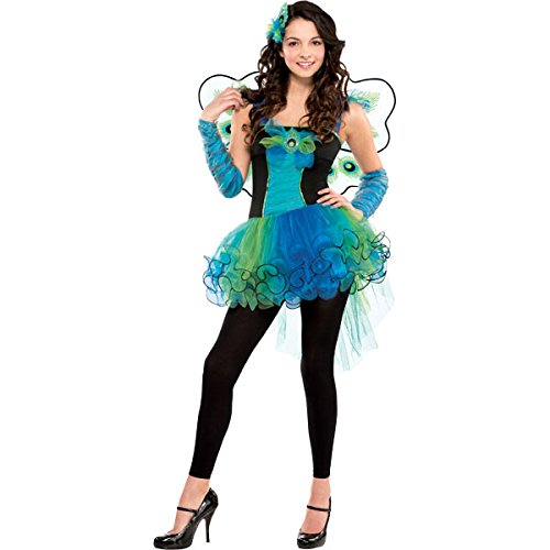 Amscan International Niña Pavo Real Diva Adolescentes Pájaro Pluma Fiesta Disfraz - Verde, 10-12 Años