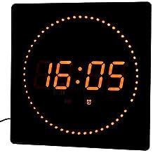 LED Reloj Rojo Redonda Temperatura Despertador Pantalla fecha Montaje en la pared Reloj de estudio Reloj digital