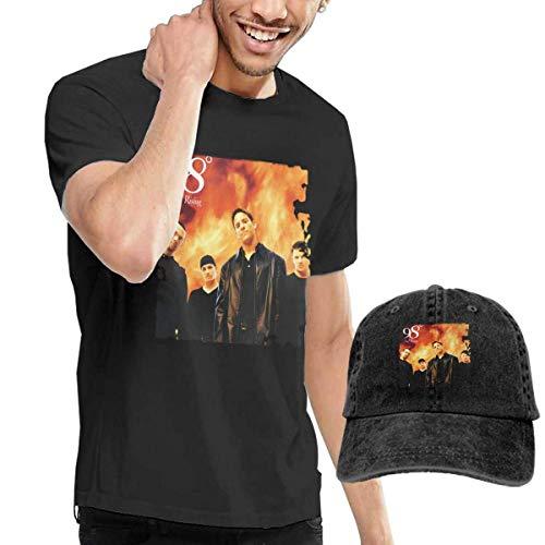 Thimd Herren T-Shirt und Kappe Schwarz, 98 Degrees 98 Degrees and Rising Tees and Washed Denim Baseball Dad Hats Black (Korean Mode Für Männer Bekleidung)
