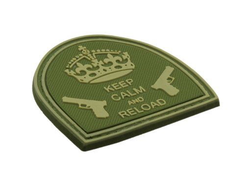 BE-X 3D Rubber Patch / Abzeichen - Keep Calm and reload - Hartgummi, mit Klett - 5x5cm (olive)
