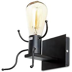Dax-Hub E26 Retrò Lampada Porta da parete a letto creativa del Robot Edison lampadina Indoor Industrial Iron LED faretto Lampada luce notturna classico UL elencato per Soggiorno Hotel Ristorante (Presa Porta lampada robotica, la lampadina NON inclusa) - Nero