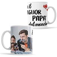 LaMAGLIERIA Tazza Personalizzata con la Tua Foto per Il miglior papà del Mondo - Custom Mug in Ceramica Festa del papà - cod. DES11