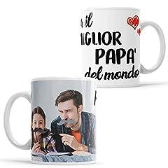 Idea Regalo - LaMAGLIERIA Tazza Personalizzata con la Tua Foto per Il miglior papà del Mondo - Custom Mug in Ceramica Festa del papà - cod. DES11